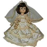 "1950's Fortune Toys Inc. 8"" Pam Doll in Beautiful Bride Outfit"