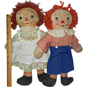 "1940's Georgene 12"" Awake/Asleep Raggedy Ann and Andy Dolls"