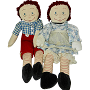 Wonderful 1940's Vintage Handmade Matching Pair Raggedy Ann and Andy