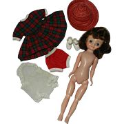 "1950's 8"" Glued Wig Brunette Betsy McCall in Her Chemise & Holiday Outfit"