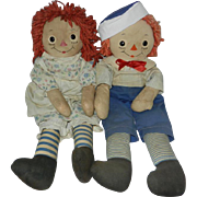 "1940's Rare Georgene ""Silsby"" Raggedy Ann & Raggedy Andy with Blue Striped Legs"