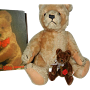 "Vintage 1950's 13"" Hermann Teddy Bear & 5"" Book Bear"