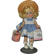 """1951-52 Vogue Ginny """"Wavette"""" Doll with Rare Wrist Tag and Cape and Curlers"""