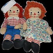 "Nice Georgene Novelties 15"" Raggedy Ann and Andy Dolls"