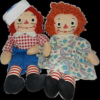 "Nice Georgene Novelties 13"" Raggedy Ann and Andy Dolls"