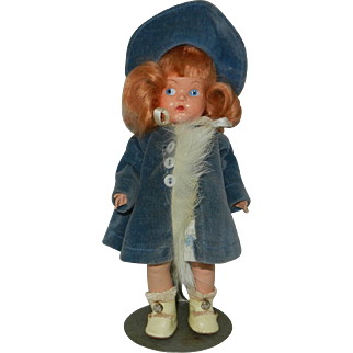 """Gorgeous 1949 Painted Eye Vogue Ginny Doll in Original Outfit #8-19C """"Jo-an"""""""
