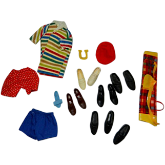 Lot of 1960's Mattel Ken and Allan Accessories, Shoes, Golf Clubs & More