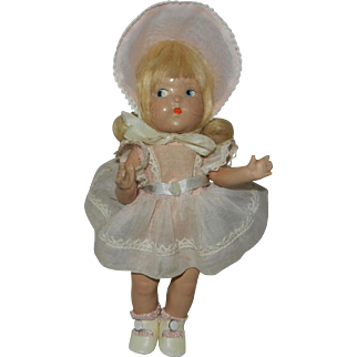 1940's Vogue Doll Toddles in Original Dress with Inkspot Tag
