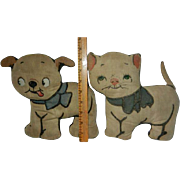 "Vintage Grace Drayton Darling ""Dolly Dingles"" Fido Dog and Kitty Cat Cloth Dolls"