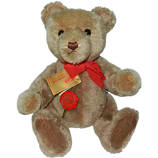 "Fabulous 1980's Hermann ""Yes-No"" Mechanical Mohair Original Teddy Bear with Tags"