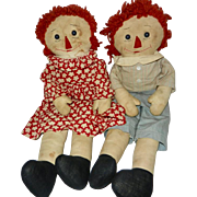 "Well Loved Vintage Handmade 19"" Raggedy Ann and Andy Dolls"