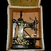 1910's Rare German Muller Model 1B Toy Sewing Machine in Original Box