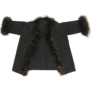 Black Wool Coat with Feather Trim for an Antique Doll