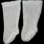 Vintage Open Weave White Doll Socks
