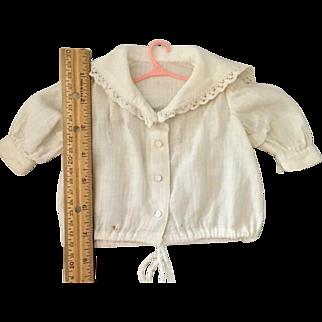 Vintage Doll Blouse in White Dimity Cotton