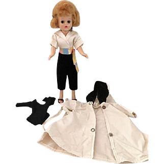 """Vogue Blonde Jill Doll Dressed in #3111 """"Hostess with the Mostest"""" and Raincoat & Leotard"""