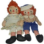 """1940's-1950's 15"""" Georgene Raggedy Ann and Andy Dolls"""
