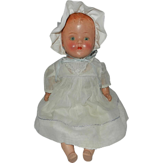 "17"" 1930's Composition Baby Doll with Cloth Body"