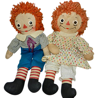 "1940's-1950's 15"" Pair of Georgene Raggedy Ann and Andy Dolls"