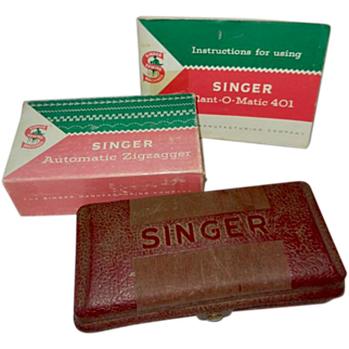 1950's Singer 401 Booklet and Zigzagger, Buttonholer for Slant Needle Machines