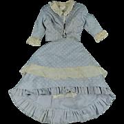 Vintage Cotton Day Dress 2 Piece Ensemble For Antique French Fashion Doll