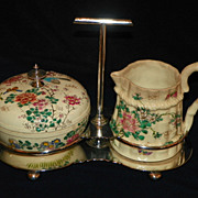 Japanese Satsuma Cream & Sugar Set in Holder. Circa 1880.