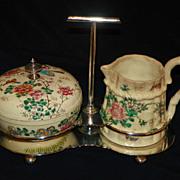 Japanese Satsuma Cream & Sugar Set in Holder. Circa 1880.