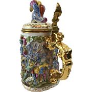 Beer Stein, LARGE Size, Renaissance Battle Scene, Italian Capodimonte Porcelain