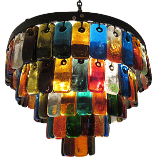 Mid-Century Brutalist Colored Glass and Iron Chandelier
