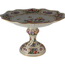 Pierced Compote.  German Dresden Porcelain.  Early 20th Century