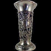 Dominick & Haff Sterling and Cobalt Glass Vase