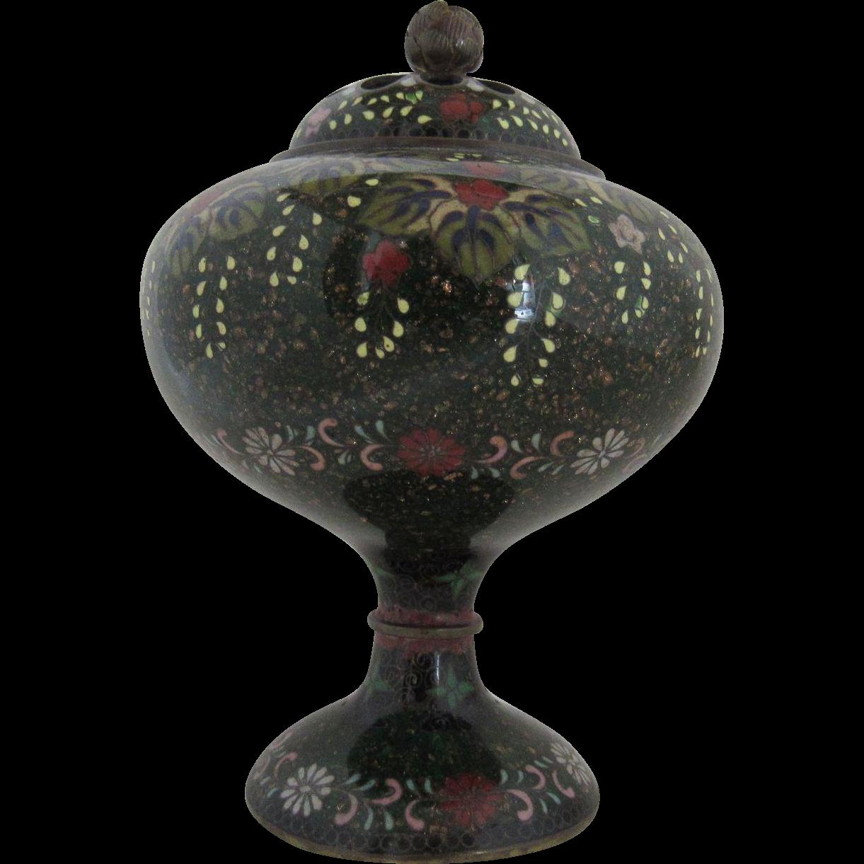 Incense Burner.  Japanese Goldstone Cloisonne.  Late 19th C