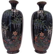 Pair of Signed Japanese Cloisonne Vases.  Meiji.