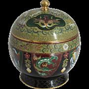 Ando Jubei Signed Covered Jar.  Japanese Cloisonne.