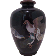 Japanese Cloisonne Vase.  Black Ground. Early 20th Century