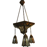 Arts and Crafts Slag Glass Chandelier.  Circa 1910