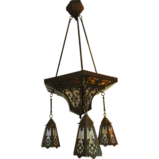 Arts and Crafts Slag Glass Chandelier.  Circa 1910