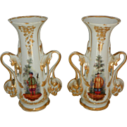 Pair of French Old Paris Porcelain Vases Circa 1860