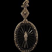 Lovely Edwardian Onyx and Diamond Pendant