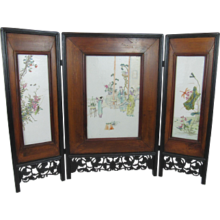 Chinese Hardwood and Porcelain Screen