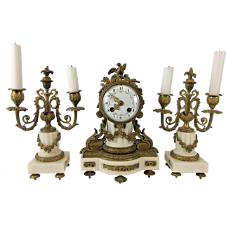 French Clock and Candelabra Mantle Set, White Marble and Ormolu, 19th Century