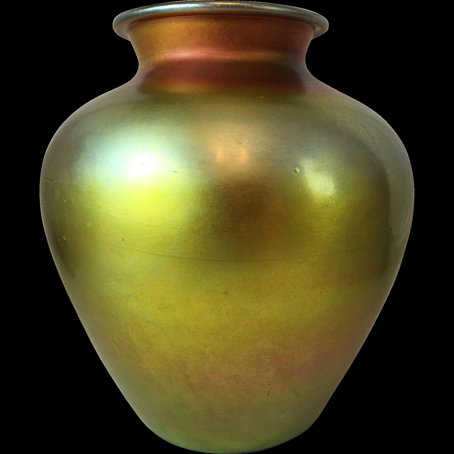 "Steuben Gold Aurene Vase, 10.5"", Large, Iridescent, Art Glass"