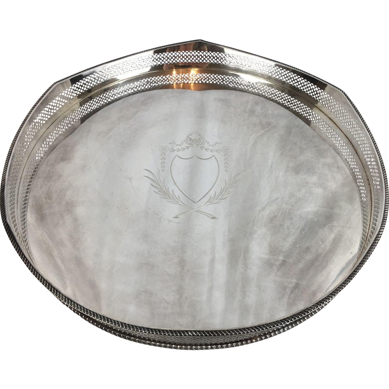 Large Pierced and Engraved English Silverplate Gallery Tray Circa 1920, Circle