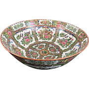 "Chinese Blue Dragon/ Rose Medallion Large Punch Bowl, Perfect, 15 3/4"" Diameter"