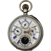 Swiss Pocket Watch. 800 Silver. Calendar, Day, and Moon Phase.