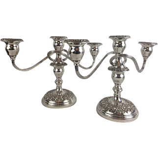 Pair of S Kirk & Son Repousse Silver Candelabras