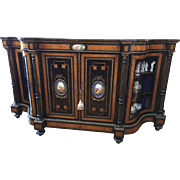 19th Century French Ebonized Console Cabinet with Sevres Porcelain Plaques