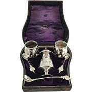 Sterling Condiment Set in Original Preservation Box Circa 1860's (Shreve & Stanwood Boston)