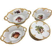 German porcelain desert service. 3 oval fruit bowls, 12 dessert Plates. Furstenberg company mark 19th Century