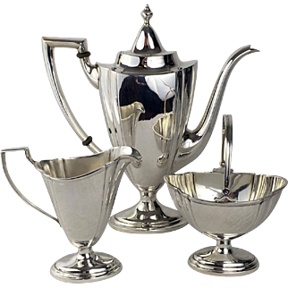 3 Piece International Co. Sterling Silver Coffee Set Circa 1920